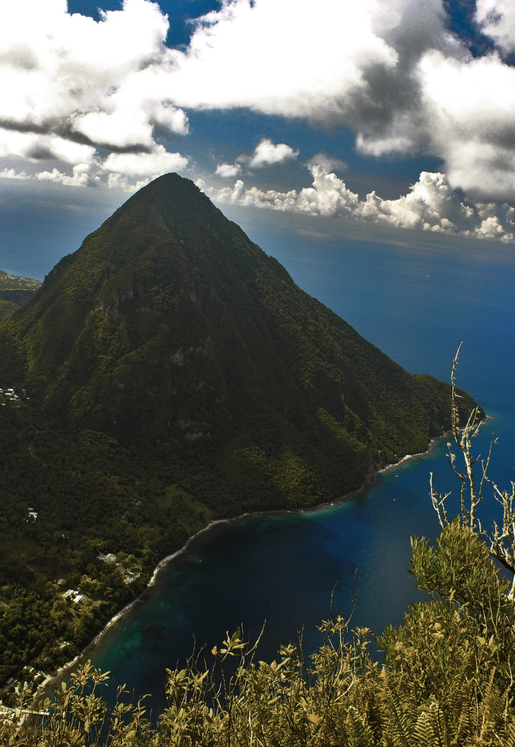 Day 4: AS SEEN FROM THE SUMMIT OF PETIT PITON (! cap-locked for excited emphasis!) Canon 18mm, f/8, 1/50, ISO 100. Color Correction done in Photoshop. (Lightroom currently in transit!)