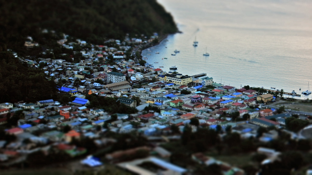 In-camera creative filter. Bird's eye view of Soufriere. Canon 18-55mm, f/5.6, 1/80, ISO 400