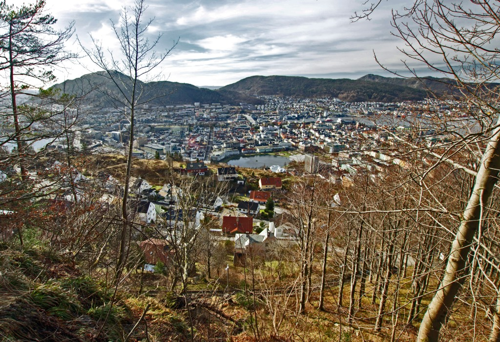 Bergen, Norway. Hiking trail up to Fløibanen overlook. Canon T3i. Sigma 10-20mm. f/9, 1/80, ISO 200